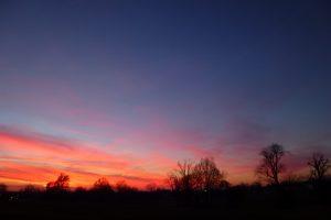 寮の裏から見た夕焼け